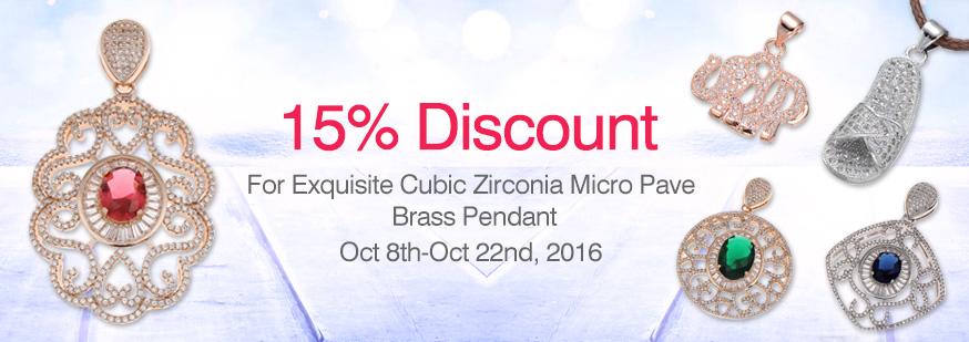 Cubic Zirconia Micro Pave Brass Pendant